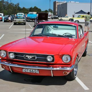 1965 Ford Mustang at an auto show in Sydney, Australia