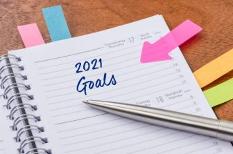Planner with colored post-its and 2021 goals