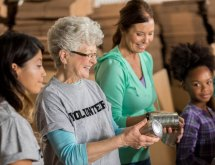 Female volunteer at food bank