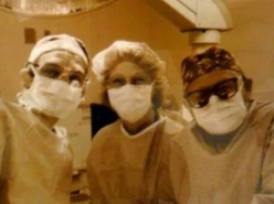Mesothelioma Victim Jimmy E. Wearing Scrubs in the Operating Room