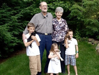 Mesothelioma Survivor Pete K. and his grandchildren