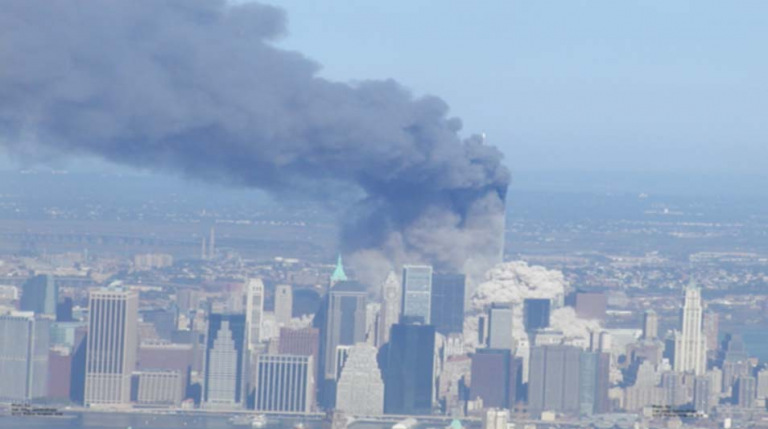 Smoke clouds of the twin towers on 9/11