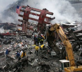 Debris at 9/11 World Trade Center site