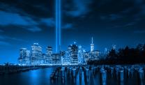 9/11 twin towers lights, NYC skyline