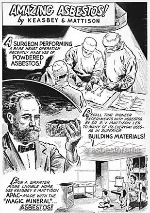 Vintage cartoon showing doctors using asbestos during surgery.