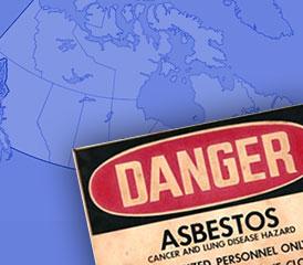 Danger Asbestos over Canada map
