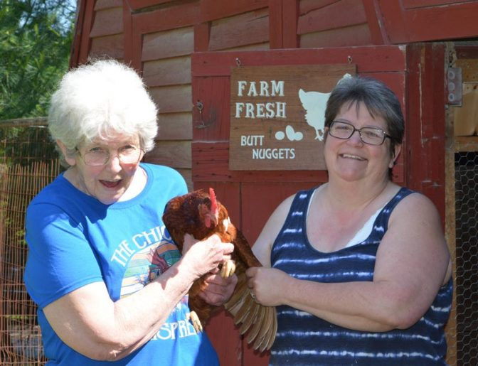 Emily and Nora at chicken coop