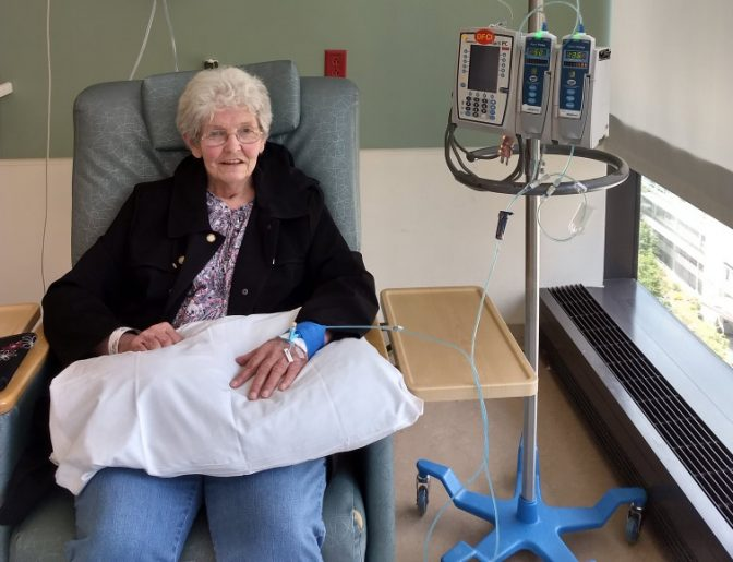 Emily Ward during a Keytruda infusion