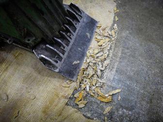 Floor scraper with bits of asbestos backing