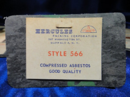 Rectangular asbestos gasket with Hercules label