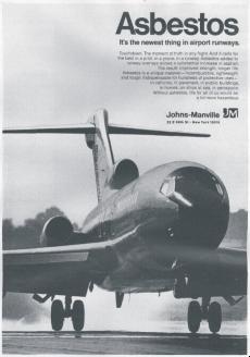 B&W ad with Asbestos headline and plane