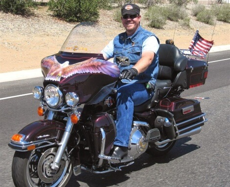 Jim Dykstra on his motorcycle