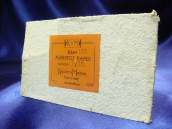 White asbestos paper with K&M label