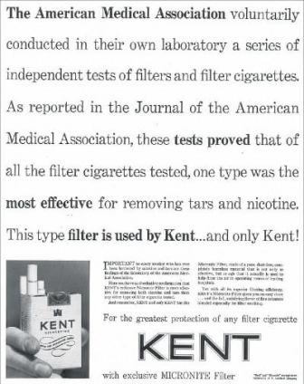 1954 ad for Kent Micronite cigarettes