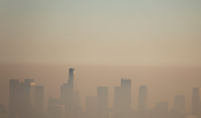 Smog over the Los Angeles skyline