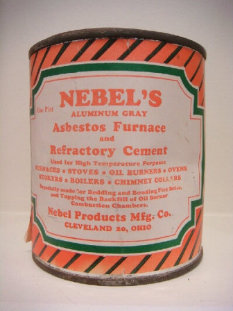 Orange striped can of Nebel's cement