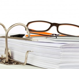 Eyeglasses on bound documents