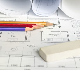 Pencils on a blueprint