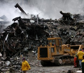 Tractor hauling debris from World Trade Center after 9/11