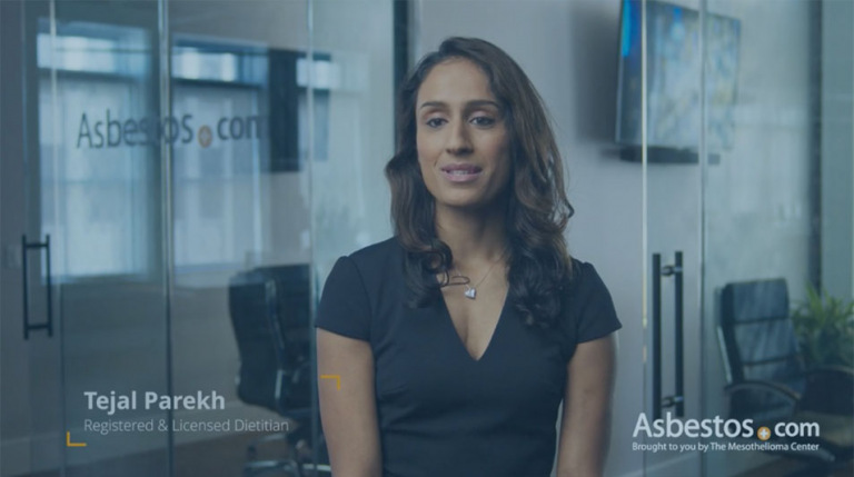 Tejal Parekh, registered & licensed dietitian, video thumbnail on nutrition for mesothelioma patients