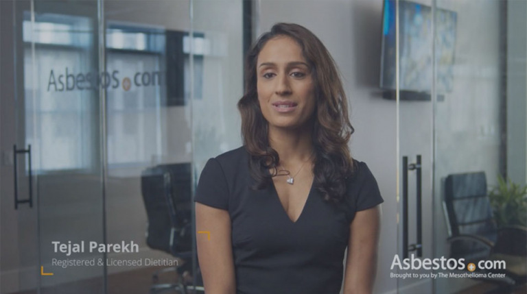Tejal Parekh, licensed & registered dietitian, video thumbnail on nutrition for mesothelioma patients