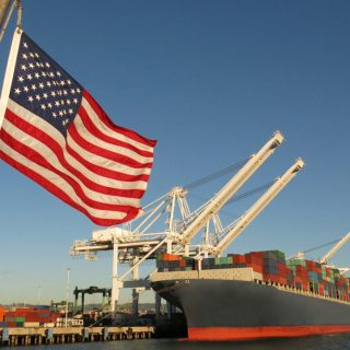 Cargo ship at U.S. port