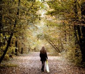 Walking Alone in Forest