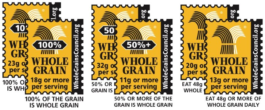 Whole grain labels with percentages