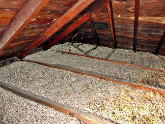 Zonolite insulation in an attic
