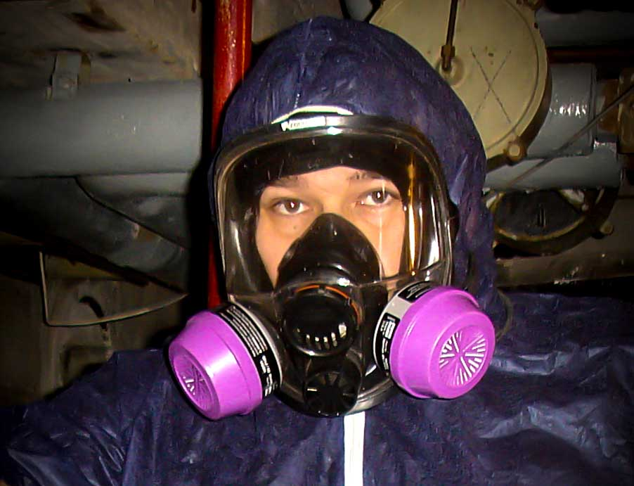 Asbestos Hunter Anthony Rich in a protective suit