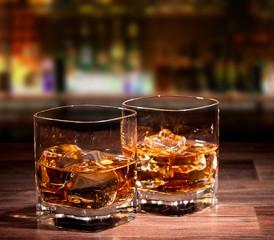 Alcoholic drinks at a bar