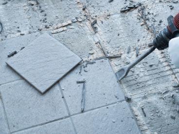 Asbestos adhesives on tiles