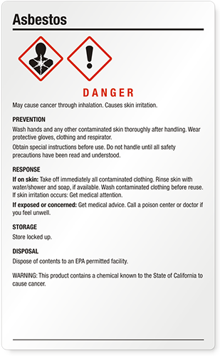 asbestos warning label