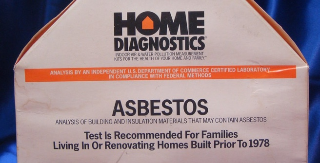Label of a do-it-yourself asbestos testing kit by Home Diagnostics