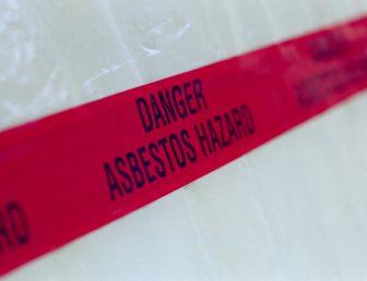 Asbestos hazard tape