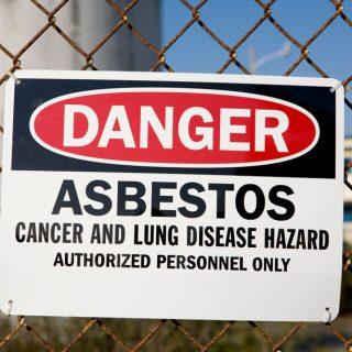 Asbestos hazard sign