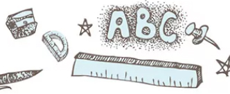 Graphic showing alphabet letters and school tools
