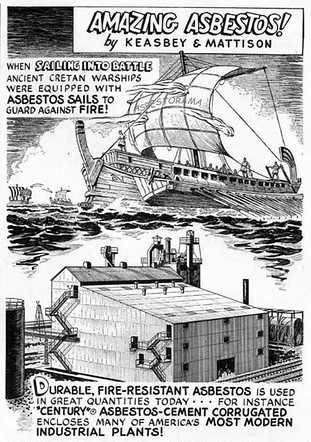 Vintage cartoon showing asbestos use in ancient and modern times.