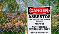 Asbestos warning outside of an abatement