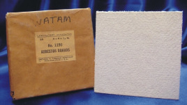 A packaged and unpackaged square asbestos board