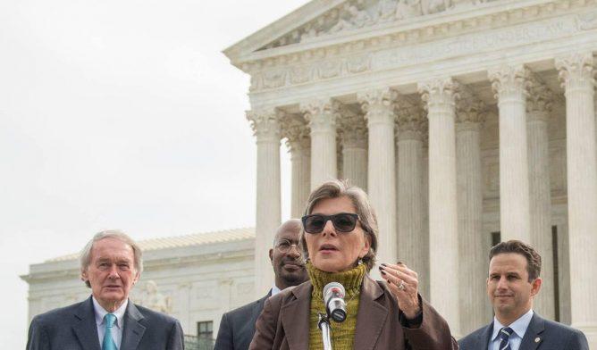 U.S. Sen. Barbara Boxer of California speaking at podium