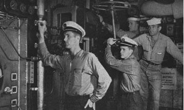 Servicemen working in boiler room