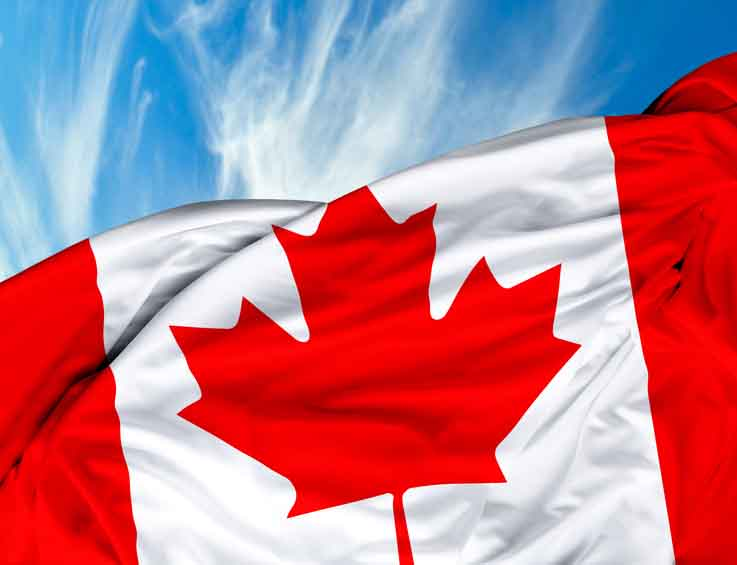 Canada flag waving  against sky