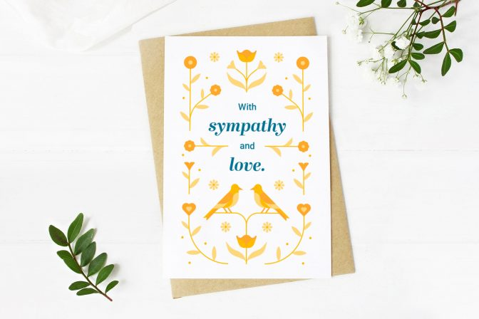 Downloadable cancer death sympathy card