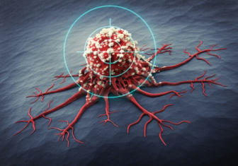 Close-up of cancer cell with target
