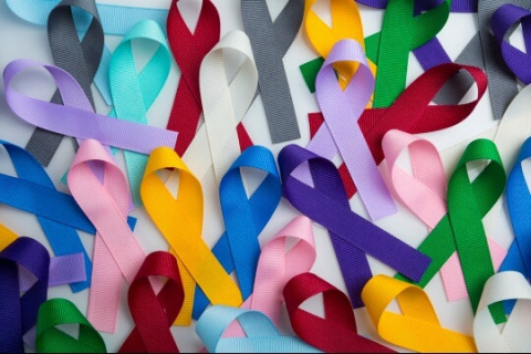Multicolored cancer ribbons