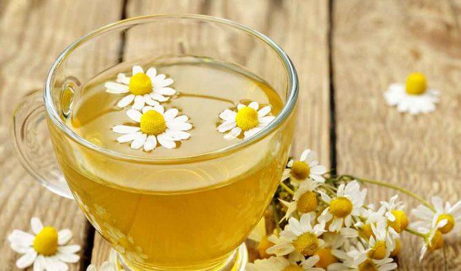 Chamomile tea with flowers