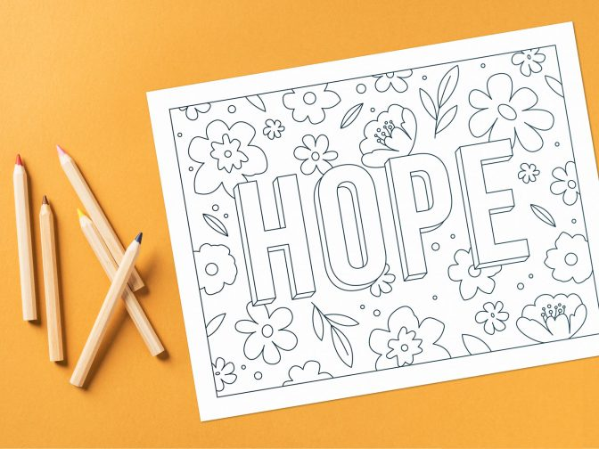 Downloadable cancer-themed graphic for coloring
