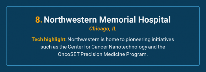 Northwestern Memorial Hospital is the number 8 high-tech cancer hospital in the U.S.