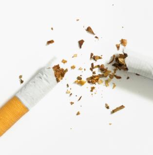 Cigarette broken in half